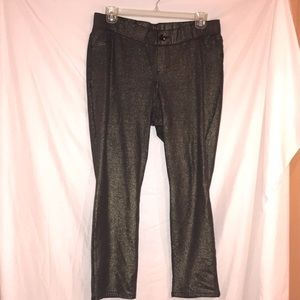 Sequin stretch jeans with gold sparkle